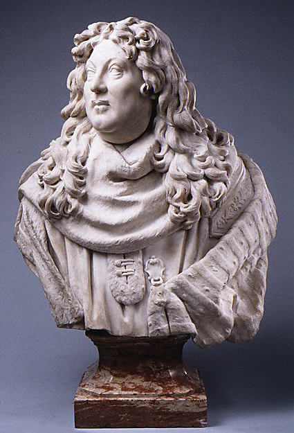 A magistrate, Possibly by Christophe Veyrier (1637–1689), Bust: white marble, French