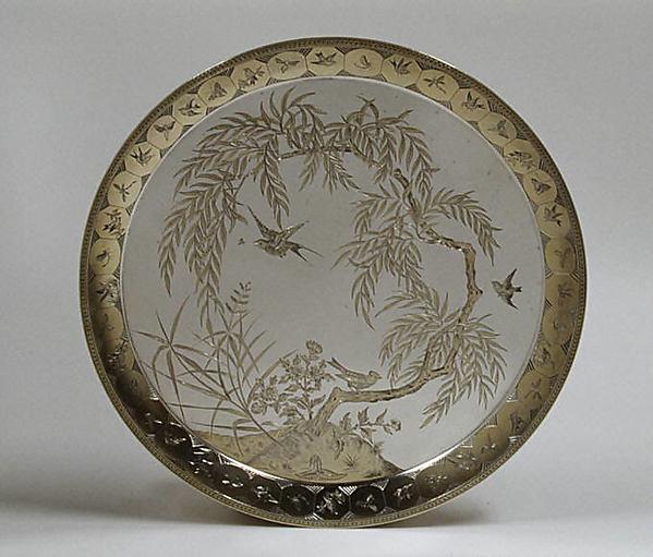 Salver, Frederick Elkington, Silver, parcel gilt, British, Birmingham