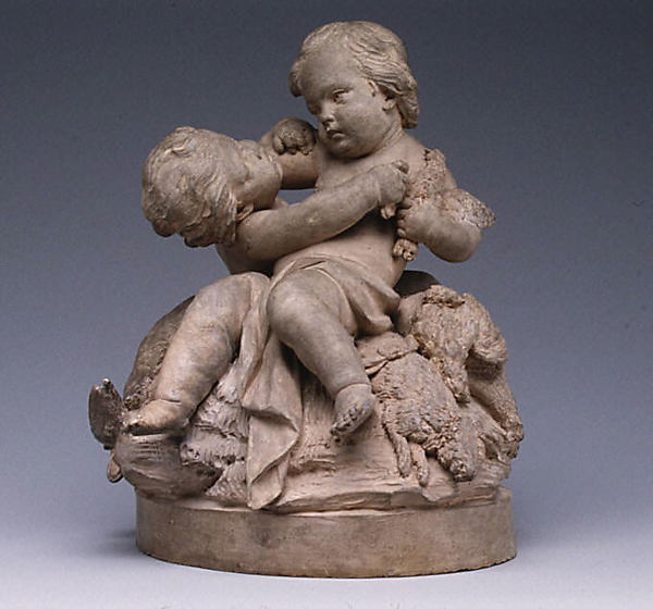 Children with dead game, Attributed to Robert Joseph Auguste (French, 1723–1805, master 1757), Terracotta, French, Paris