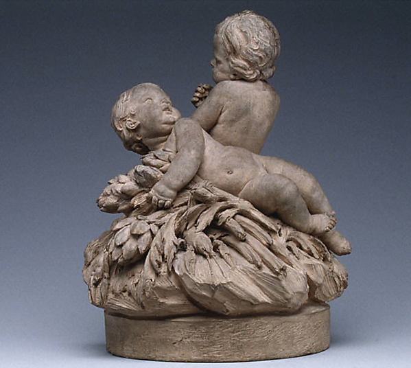 Children with shellfish and vegetables, Attributed to Robert Joseph Auguste (French, 1723–1805, master 1757), Terracotta, French, Paris