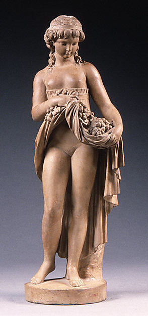 Girl holding fruit, Clodion (Claude Michel) (French, Nancy 1738–1814 Paris), Terracotta, French