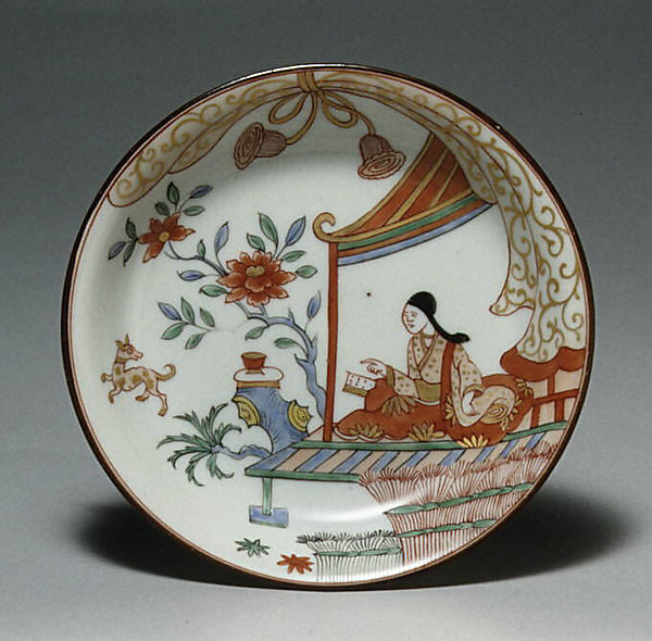 Saucer, Hard-paste porcelain, Chinese with Dutch decoration, for European market