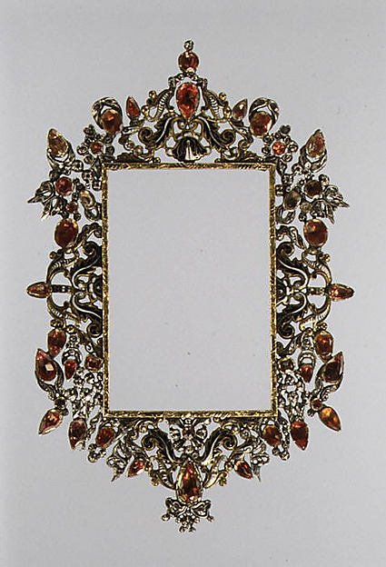 Frame, Parcel-gilded and enameled silver, pastes (artificial diamonds) backed by pink metal foil, Spanish or Southern Italian