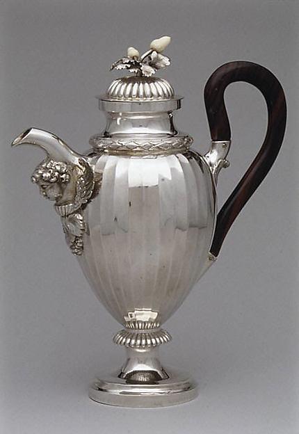 Coffeepot, Alois Simpert Eschenlohr (1785–1837, master 1824?), Silver, ebony, ivory, macassar ivory, German, Augsburg
