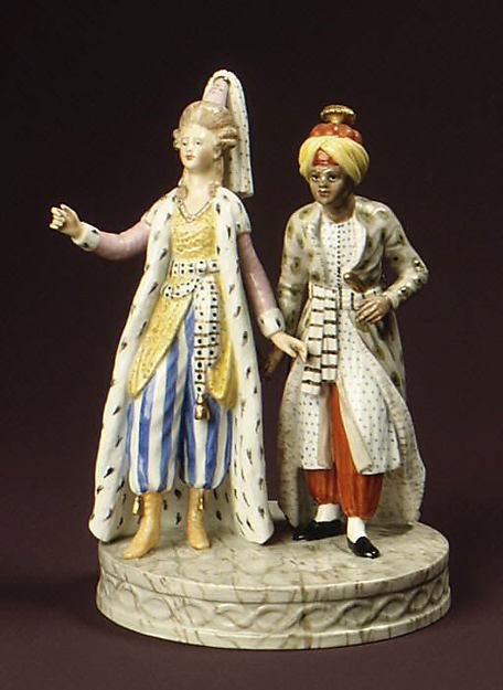 Sultana and Attendant, Royal Porcelain Manufactory (Danish, 1775–present), Hard-paste porcelain, Danish, Copenhagen