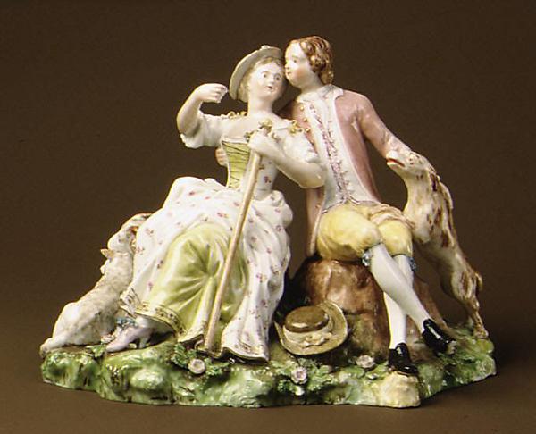 Shepherd Couple, Royal Porcelain Manufactory (Danish, 1775–present), Hard-paste porcelain, Danish, Copenhagen