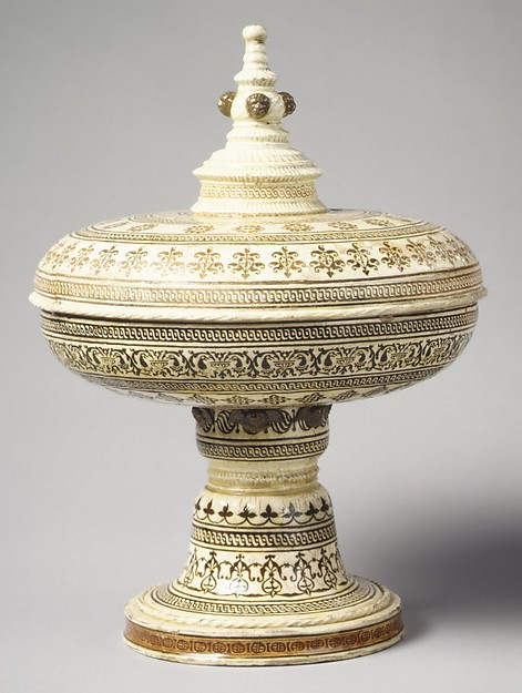 Tazza with cover, Lead-glazed earthenware inlaid with slip, with molded ornament, with 20th century unpainted foot, French, Saint-Porchaire or Paris