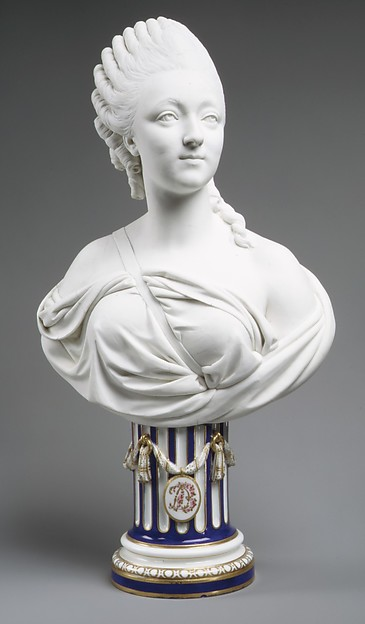 Madame du Barry (1746–1793), Sèvres Manufactory (French, 1740–present), Bust: soft-paste biscuit porcelain; pedestal: glazed porcelain, enameled and gilt, French, Sèvres