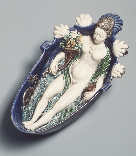 Figure personifying a spring, Model probably supplied by Guillaume Dupré (French, 1579–1640), Lead-glazed earthenware, French, Fontainebleau or Avon