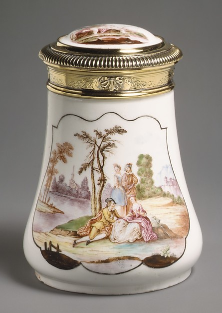 Caster (?), Vincennes Manufactory (French, ca. 1740–1756), Soft-paste porcelain, silver gilt, French, Vincennes