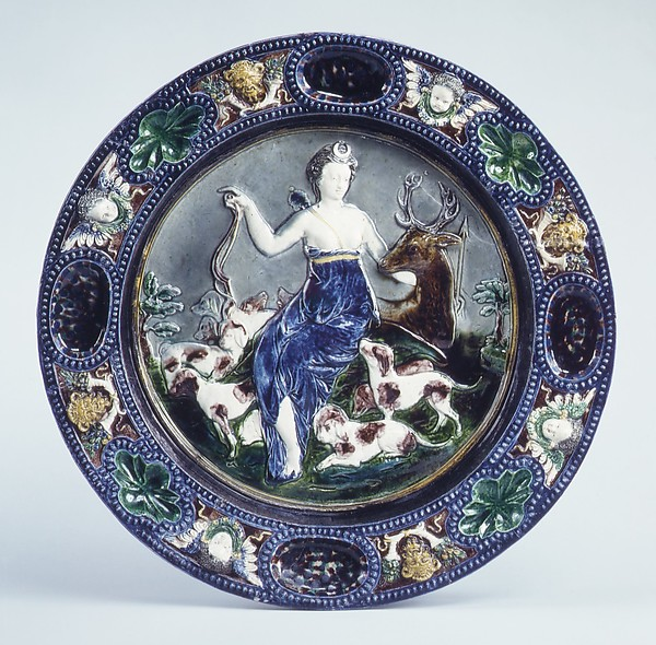 Dish with Diana and the stag, Follower of Bernard Palissy (French, Agen, Lot-et-Garonne 1510–1590 Paris), Lead-glazed earthenware, French
