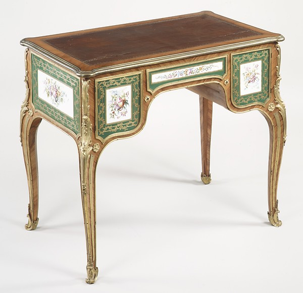 Desk, Joseph Baumhauer (French, active ca. 1749–72), Oak, tulipwood, gilt bronze, soft-paste porcelain, leather, silk, French, Paris and Sèvres