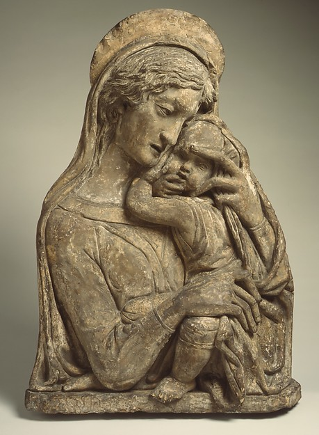 Madonna and Child, After a model by Donatello (Italian, Florence ca. 1386–1466 Florence)  , and made by his Workshop, Terracotta, polychromed, Italian, Florence