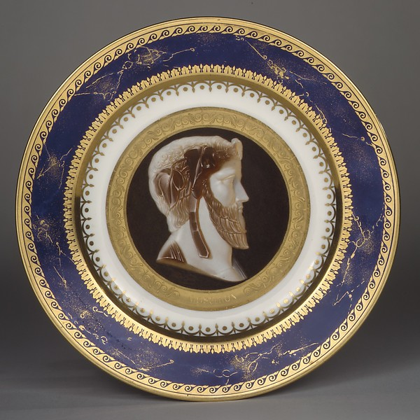 Plate with imaginary portrait of the tragic poet Moschion, Sèvres Manufactory (French, 1740–present), Hard-paste porcelain, French, Sèvres