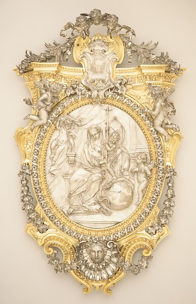 The Virgin and Child Triumphing over Evil, Probably by Francesco Giardoni (1692–1757), Silver, gilt bronze, and wood, Italian, Rome