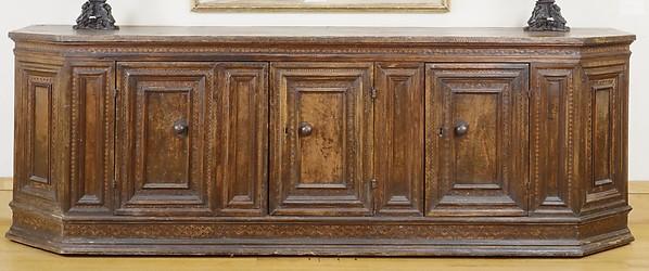 Cupboard (credenza), Italian (Tuscan)  , first half 16th century, Walnut, poplar, ebony, ebonized wood, maple, Italian, Tuscany