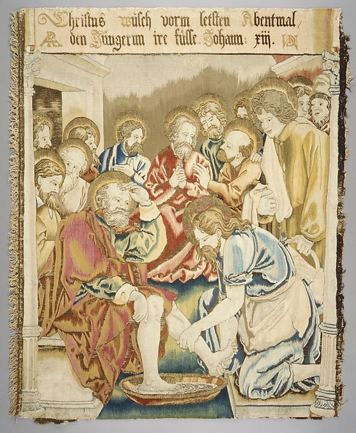Christ Washing the Feet of His Disciples from a set of The Passion, Design based on a woodcut by Albrecht Dürer (German, Nuremberg 1471–1528 Nuremberg)  , from the Small Passion, Wool, silk, metal thread (20 warp threads per inch, 8 per cm.), German, Alsace, possibly Strasbourg