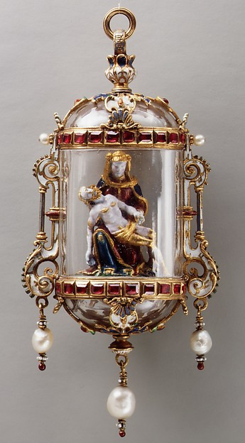 Pietà, Gold, enamel, crystal, rubies, pearls, German or French