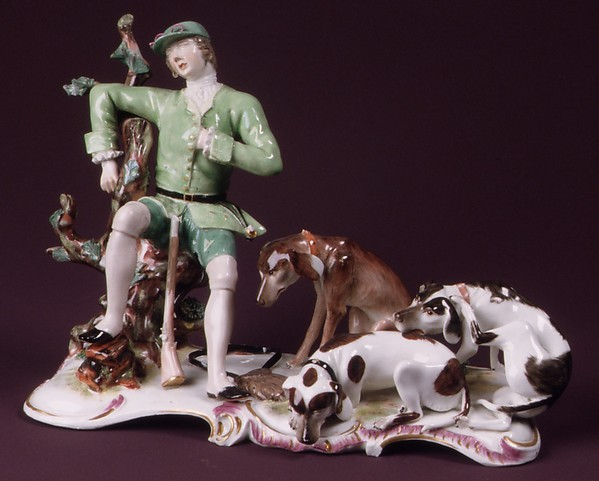 Hunter with Hounds, Höchst Manufactory (German, 1746–1796), Hard-paste porcelain, German, Höchst