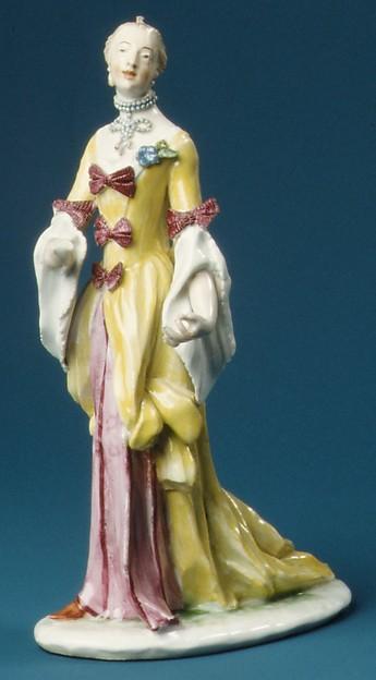 Standing woman, Nymphenburg Porcelain Manufactory (German, 1747–present), Hard-paste porcelain, German, Nymphenburg