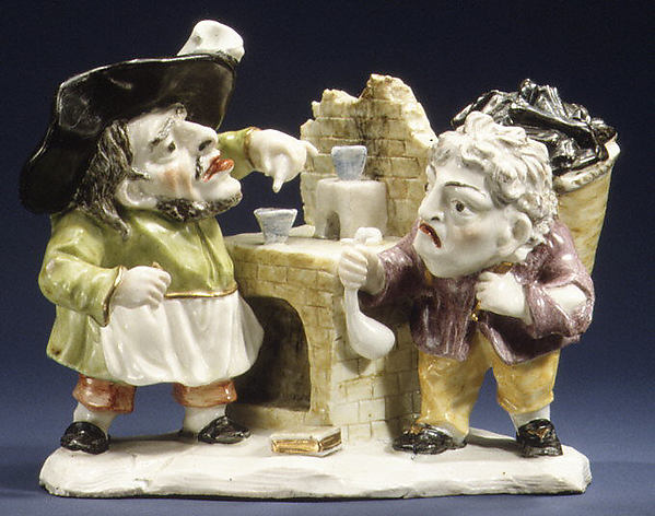 Alchemist and his Assistant, Hard-paste porcelain, probably Italian