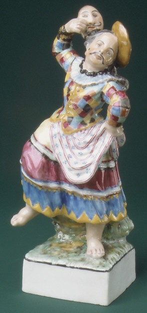 Harlequin Dressed as Columbine, Gardner Factory (Russian), Hard-paste porcelain, Russian, Verbilki