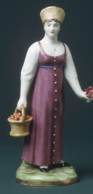 Woman with a Fruit Basket, Gardner Factory (Russian), Hard-paste porcelain, Russian, Verbilki