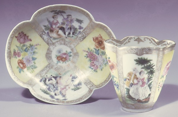 Cup and saucer (one of a pair), Hard-paste porcelain, Chinese, for European market