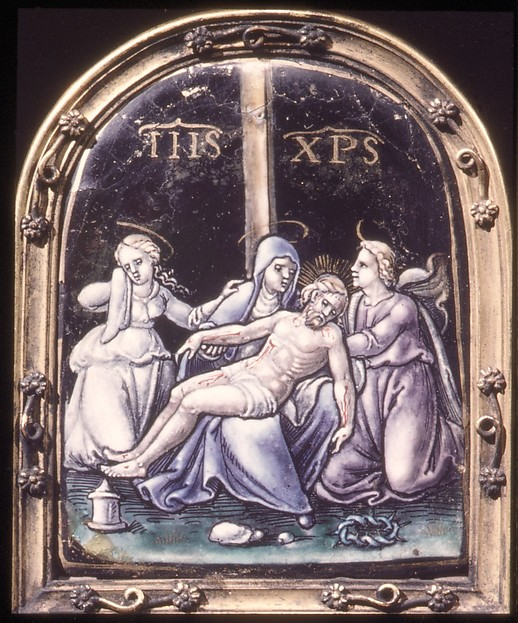 Pietà (one of a pair), Possibly made at the workshop of Pierre Reymond (born 1513, working 1537, died after 1584), Painted enamel on copper, partly gilt, French, Limoges