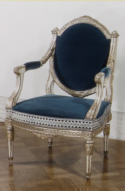 Armchair (one of a pair), Carved, painted and gilded beech, French