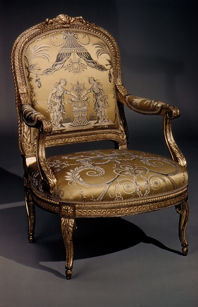 Armchair, Georges Jacob (French, Cheny 1739–1814 Paris), Carved and gilded walnut, gold and blue lampas, French, Paris
