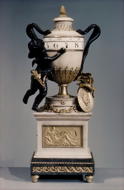 Clock, Clockmaker: workshop of Jean-Baptiste Lepaute (French, 1727–1802), Marble, bronze and gilt-bronze; chapter rings of white enamel; movement of brass and steel, French, Paris