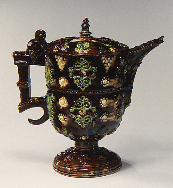 Rosewater jug, Lead-glazed earthenware, French, Avignon