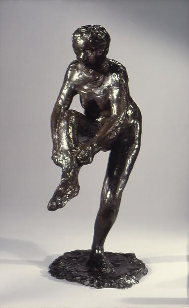 Dancer Putting on Her Stocking (Third State), Edgar Degas (French, Paris 1834–1917 Paris), Bronze, French