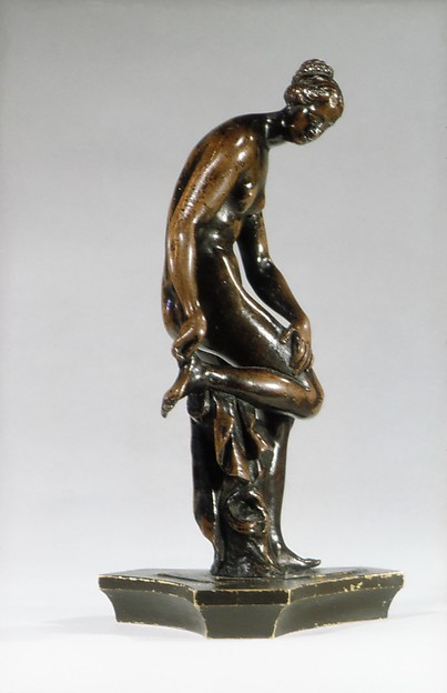 Bather, Barthélemy Prieur (French, Berzieux ca. 1536–1611 Paris), Bronze, with medium brown patina, and remains of dark brown lacquer, French