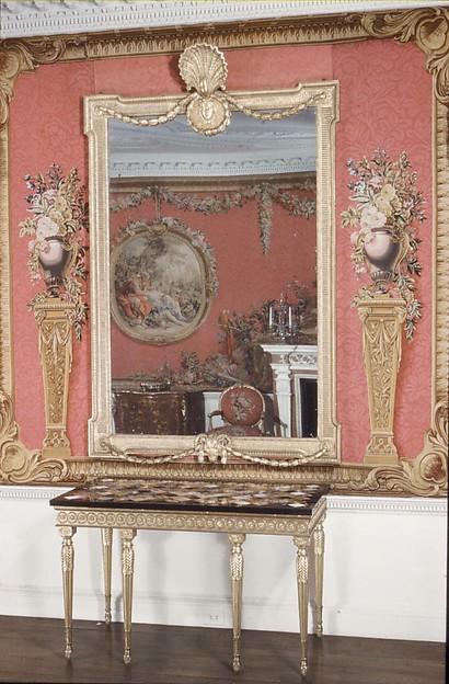 Mirror, Possibly designed by Robert Adam (British, Kirkcaldy, Scotland 1728–1792 London), Pine, gilt, mirror glass, British