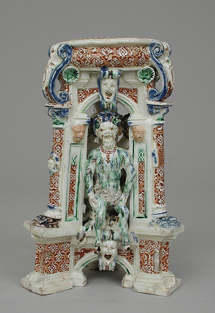 Salt, Lead-glazed earthenware inlaid with slip, with molded ornament, French, Saint-Porchaire or Paris