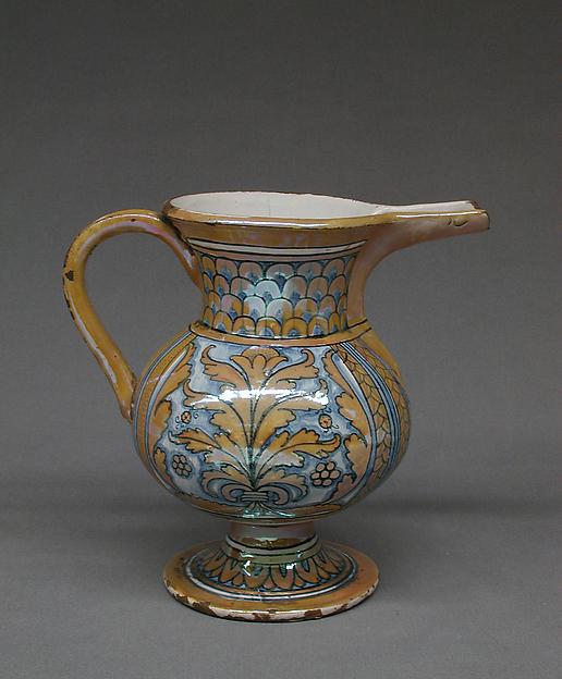 Ewer, Maiolica (tin-glazed earthenware), Italian, Deruta