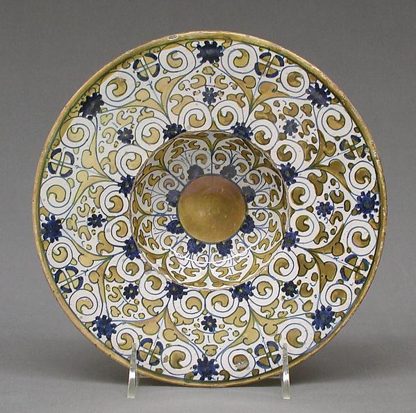 Dish, Maiolica (tin-glazed earthenware), lustered, Italian, Deruta