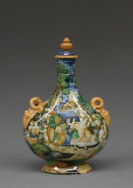Pilgrim bottle, Workshop of Orazio Fontana (Italian, Urbino, ca. 1510–1576), Maiolica (tin-glazed earthenware), Italian, Urbino