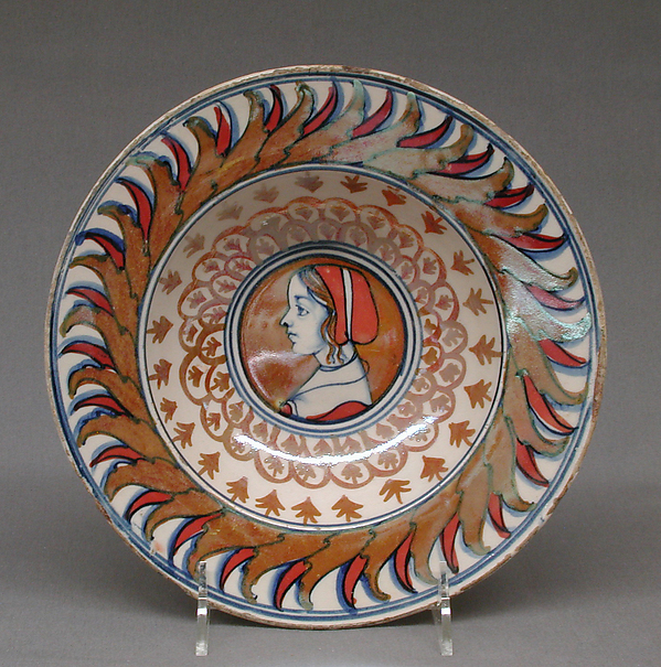 Dish with portrait of a girl, Maiolica (tin-glazed earthenware), lustered, Italian, Gubbio