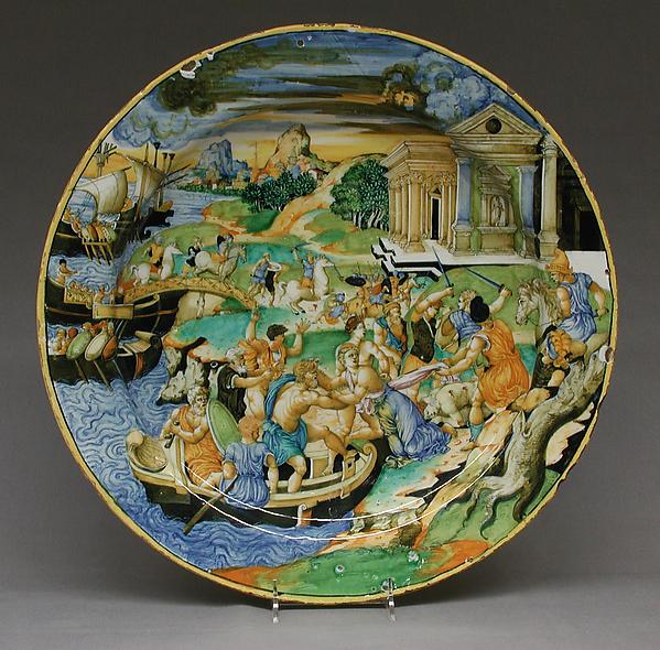 Dish, Painted in the manner of Fra Xanto Avelli da Rovigo (ca. 1486–1582), Maiolica (tin-glazed earthenware), Italian, Urbino