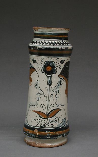 Albarello, Maiolica (tin-glazed earthenware), Italian, Naples