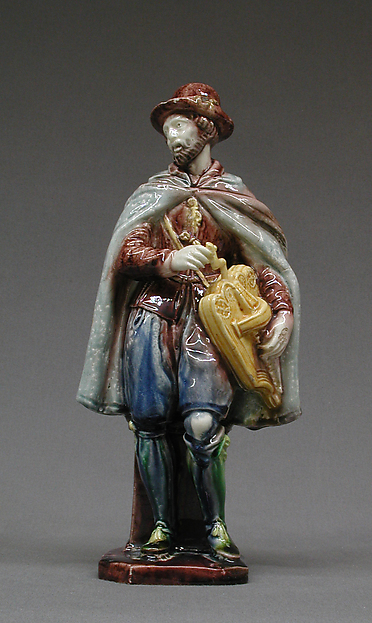 Street musician, Lead-glazed earthenware, French, Avon