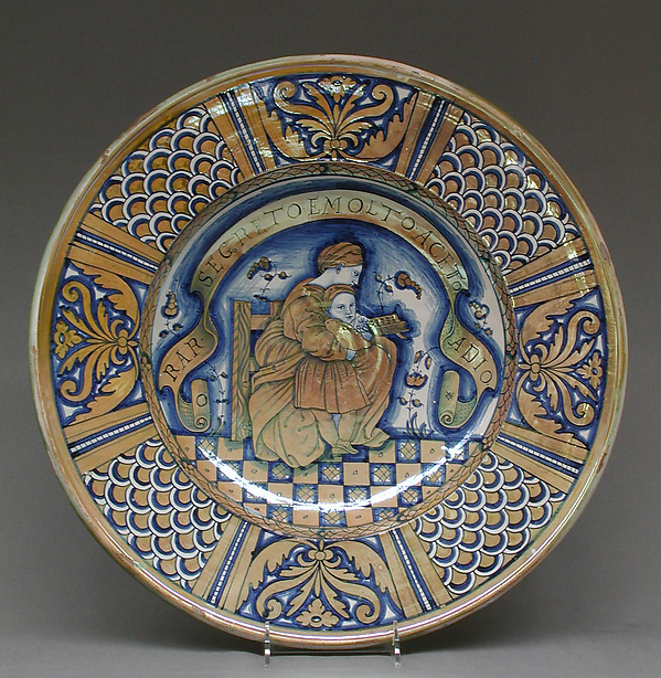 Plate with seated woman reading to a child, After a print by Marco Dente (Italian, Ravenna, active by 1515–died 1527 Rome), Maiolica (tin-glazed earthenware), lustered, Italian, Deruta