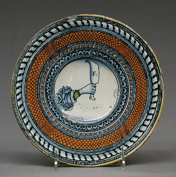 Plate, Maiolica (tin-glazed earthenware), Italian, Deruta or Siena