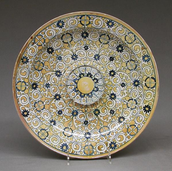 Dish for a ewer, Maiolica (tin-glazed earthenware), lustered, Italian, Deruta
