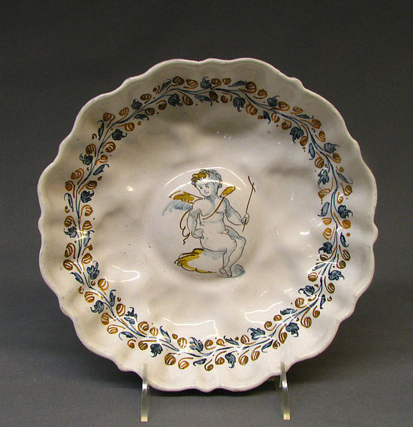 Footed dish, Tin-glazed earthenware, probably French, Nevers