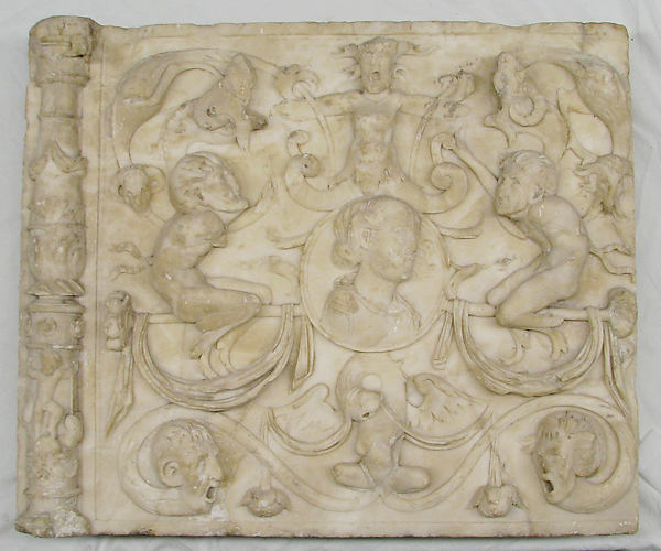 Architectural ornament panel, Alabaster, Spanish