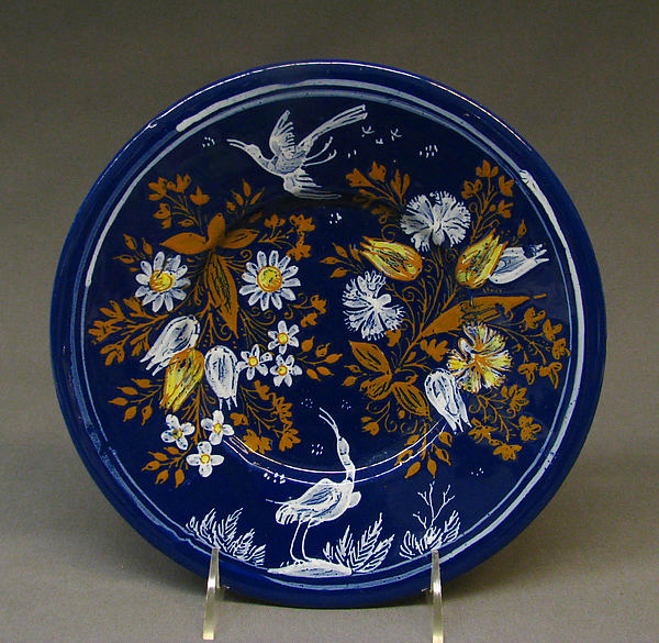 Plate, Faience (tin-glazed earthenware), French, Nevers
